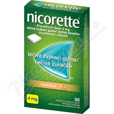 Nicorette FreshFruit Gum 4 mg léčivá žvýk. guma 30