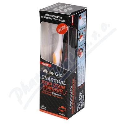 WHITE GLO Bělící zub.pasta Charcoal 150g +kartáček