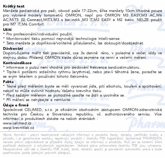 Manžeta CS2 pediatrická obv.paže 17-22cm pro OMRON