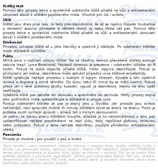 ALFA pinzeta na klíšťata a antibakt. ubrousek SADA