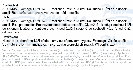 A-DERMA Exomega CONTROL Emolienční mléko 200ml