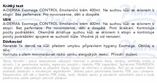 A-DERMA Exomega CONTROL Emolienční krém 400ml